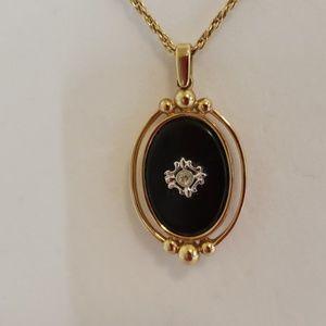 Avon Black Onyx Look Gold Tone Necklace